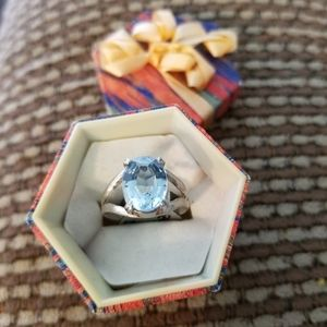 Sterling Silver Blue Oval Topaz Ring Sz 7 LH3037